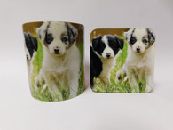 Border Collie Puppies Dog Mug and Coaster Set