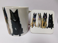Belgian Shepherd Dog Mug and Coaster Set