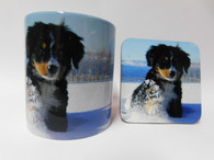 Bernese Puppy Dog Mug and Coaster Set