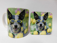 Australian Cattle Dog in sunglasses Mug and Coaster Set