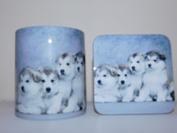 Alaskan Malamute Puppies Mug and Coaster Set
