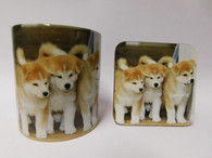 Akita Puppies Mug and Coaster Set