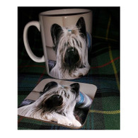 Skye Terrier on couch Mug & Coaster