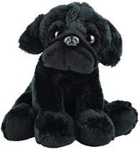 Realistic Black Pug Sitting Cuddly Toy 12.7cm By Suki Gifts