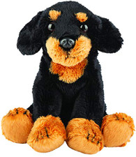 Realistic Dachshund Black & Tan Sitting Cuddly Toy 12.7cm By Suki Gifts