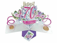 Second Nature Pop Ups Female 70th Birthday Pop Up Card with Flowers