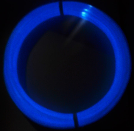 Glow Blue ABS 100g sample glowing