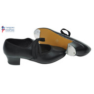 Black PVC Cuban Heel Tap Shoes With Fitted Toe And Heel Plates