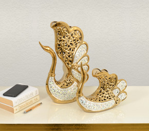 Opalescent Swan Vase    Set Of 2