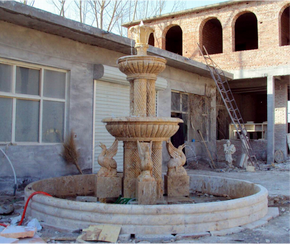 Columned Swan Fountain In Gold Stone Marble