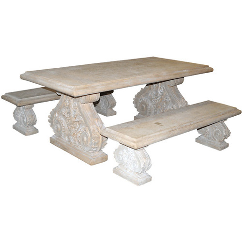 Peachy Classic Acanthus Garden Table And Bench Set Of 3 Afd Home Ibusinesslaw Wood Chair Design Ideas Ibusinesslaworg
