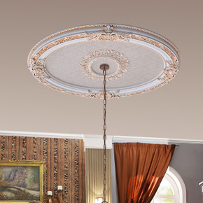 French Blanco Oval Chandelier Ceiling Medallion