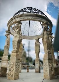 Figural Gazebo Travertine with Stainless Steel Dome 17031
