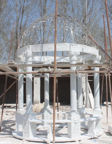 White - Marble Gazebo with Stainless Dome