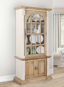 Farmhouse Tall Cabinet Hutch in White Chalk and Natural