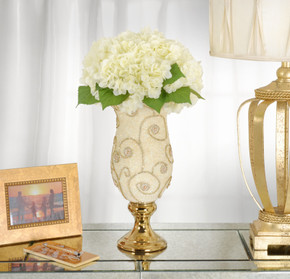 Pearl And Swirl Golden Chalice Vase