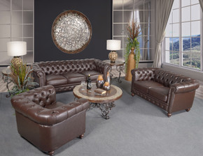 Classic Chesterfield Brown Sofa Set of 3