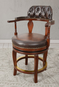Club Leather Swivel Counter Stool 24 Inches