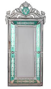 "Striking Venetian Style Mirror With Seafoam Border 47.24"" Tall"
