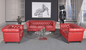 Classic Chesterfield Red Sofa Set of 3