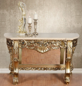 Gold Petticoat Cream Marble Top Console Table