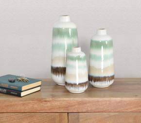 Green Sand Vase Set of 3