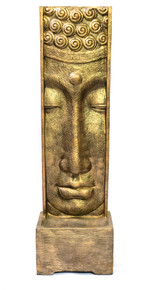 Long Face Buddha Fountain With Pump Glossy Gold Black