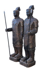 """Life Size Pair of Standing Terra Cotta Warriors  78.74"""" Tall w Black Earthy Finish"""