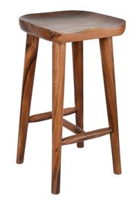 Contoured Seat Suar Wood Bar Stool