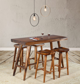 Suar Wood Slab Bar Table 63 In With 4 Stools Set of 5