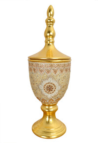 Insculpted Jeweled Urn W Lid