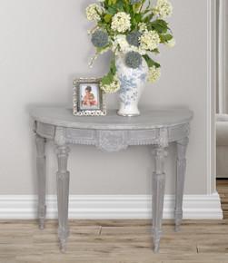 Mystique Gray Mahogany Demilune Hall Table