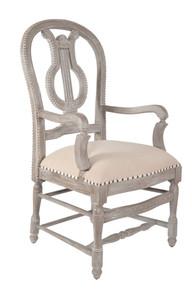 Mystique Gray Lyre Arm Chair