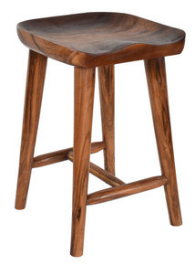 Contoured Seat Suar Wood Counter Chair
