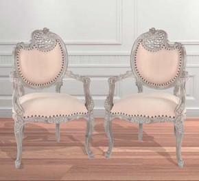 Mystique Gray Pair of French Rococo Fire Side Chair