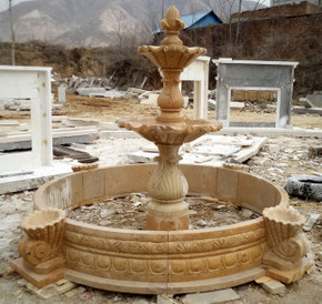 Two Tier Yellow Marble Fountain Ge19590