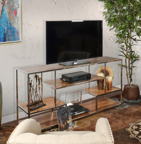 Allazzo 72 Inch Entertainment Credenza Stainless Steel & Mango Wood w Natural Finish
