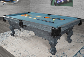 Victorian Gray Carved Pool Table Professional Size L KIT