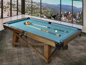 8ft Pool Table Ash Wood Gray Blue Cloth E7R