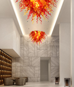 Amber and Red Grand Burst Chandelier