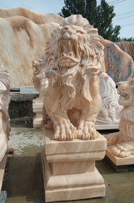 Sun Glow Marble Pair of Lions on a Pedestal GE19469