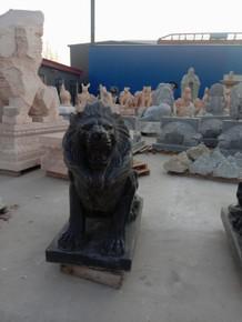 Pair of Marble Black Sitting Lions GE19630