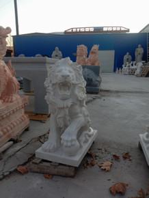 Pair of Marble Hunan White Sitting Lions GE19631