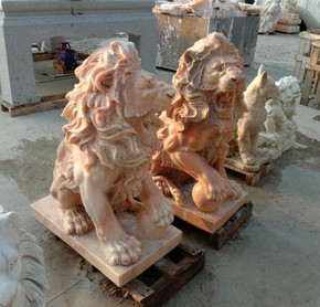 Pair of Sun Glow Marble Sitting Lions GE19796