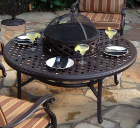 Brentwood Outdoor Aluminum Fire Pit Table With Accessories