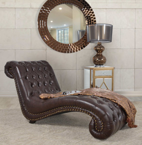 Botswana Dark Brown Micro Leather Chaise