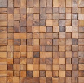 Reclaimed Teak Square Mosaic Wall Panel