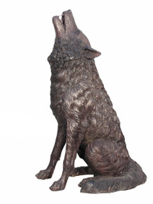 Bronze Howling Wolf Sitting 37 Inches Tall
