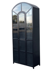 95 Inch Black Metal Arched Cabinet