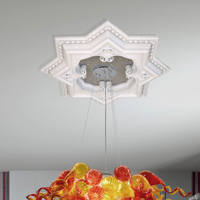 White and Silver Eight Pointed Star Chandelier Ceiling Medallion 24in